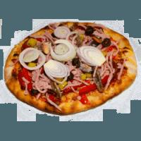 10 Tomaten, Käse, Salami, Paprika, Champignon, Schinken, Sardellen, Peperoni, Oliven, Muscheln, Zwiebeln